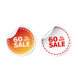 sale stickers 60 percent off on white background vector image vector image
