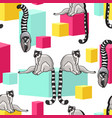 Seamless pattern with cartoon lemurs an