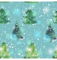 seamless pattern with watercolour Christmas trees vector image