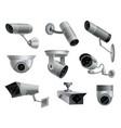 set security cameras decorative surveillance vector image