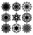 set silhouette of snowflakes icons on white vector image