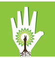Victory hand make tree inside the tree vector image vector image