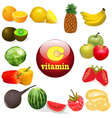 vitamin C in foods of plant T vector image