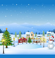 winter landscape with christmas tree and snowman vector image