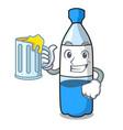 with juice water bottle mascot cartoon vector image