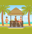 woman in beachwear and man drinking cocktails at vector image