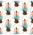 Seamless background with bass guitar and flowers vector image