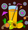 a glass of apricot juice and a straw apricots and vector image vector image