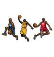 Basketball player set vector image