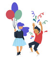 birthday party girl with balloon and boy throwing vector image vector image