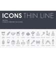 Birthday Thin Line Icons vector image vector image
