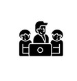 business teamwork black icon sign on vector image