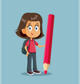 cartoon female student standing near a giant vector image