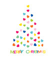 colorful heart shape design christmas tree vector image