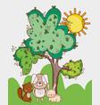 Cute animals squirrel rabbit and grass tree sun