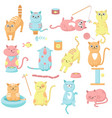 cute cat icon set hand drawn vector image