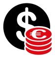 Dollar euro coins icon vector image vector image