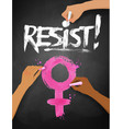 female hands drawing resist word lettering vector image vector image