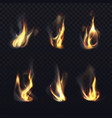 fire flames with smoke realistic icons vector image