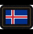 flag of iceland icon on black leather backdrop vector image