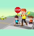 flagger and kids crossing the street vector image