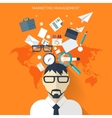 Flat business background with papersTemwork vector image vector image
