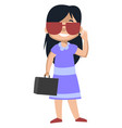 girl with sunglasses on white background vector image vector image