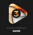 golden number three logo in golden-silver triangle vector image vector image