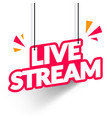 hanging live stream sign vector image