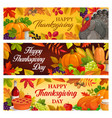 happy thanksgiving day cartoon banners vector image vector image