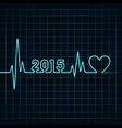 heartbeat make 2015 and heart symb vector image vector image