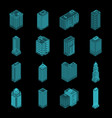 isometric holography city building set vector image
