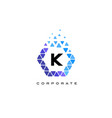 k blue hexagon letter logo with triangles vector image