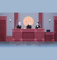 law process with judge lawyer and procurator in vector image vector image