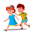 little boy and girl playing catch-up vector image vector image