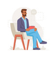 male psychologist holding clipboard listening vector image vector image