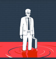 man with suitcase in a puddle blood vector image vector image