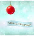 merry christmas blue background 3d red bauble vector image