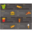 noodles and burrito posters set vector image vector image