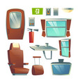 passenger train wagon interior element set vector image vector image