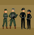 police officers and military soldierman and woman vector image vector image