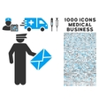 Postman Icon with 1000 Medical Business Symbols vector image vector image
