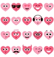 red and pink hearts with smiley faces vector image