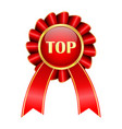 red award badge top sign vector image vector image