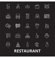 restaurant editable line icons set on black vector image vector image