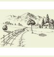 road to a alpine farmhouse mountains landscape vector image vector image