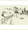 road to a alpine farmhouse mountains landscape vector image