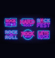 Rock music neon signs collection design