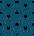 seamless pattern with spider black heart widow vector image vector image