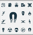 sign icons set with radioactive respirator vector image